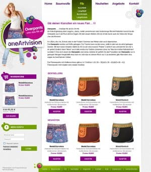 "Webdesign für ""Overpants shop"""