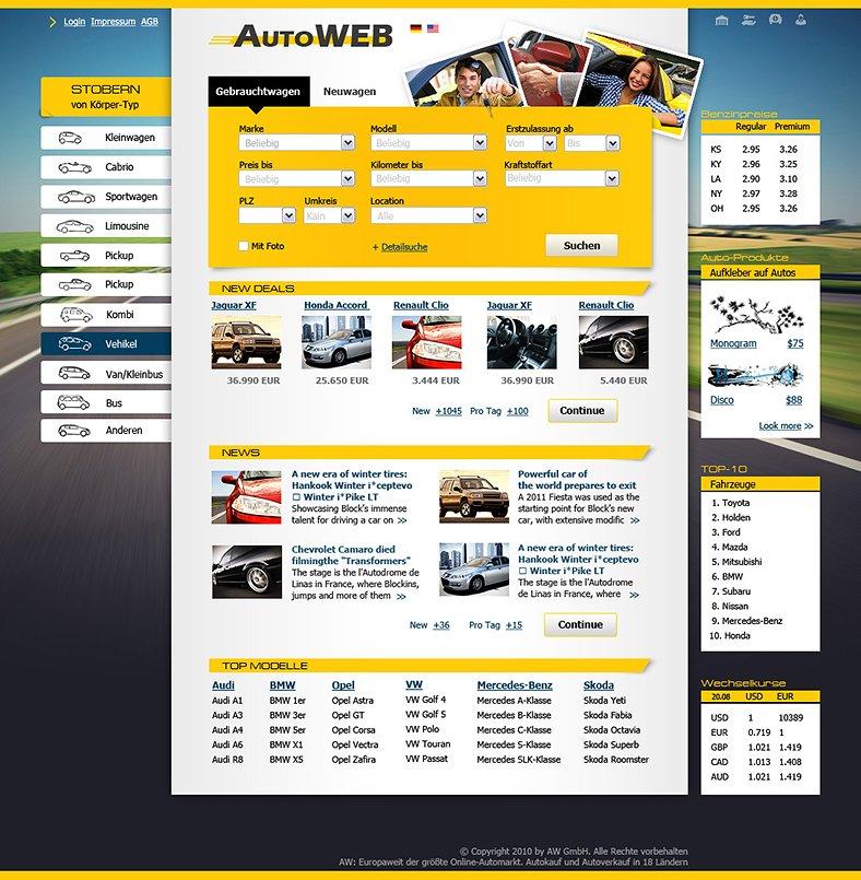 Webdesign für Autoportal