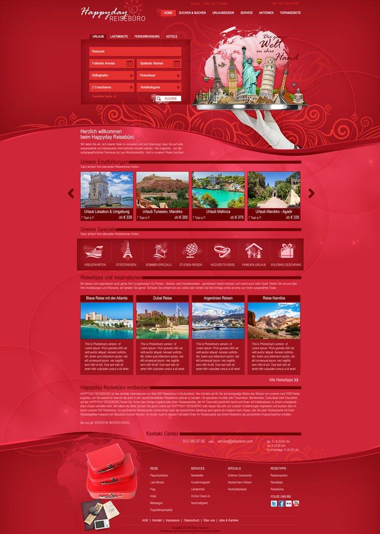 """Webdesign für """"HappyDay"""" Reisebüro"""