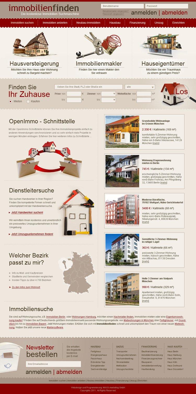 """Webdesign für """"Immobilienfinden""""-Suchmaschine"""