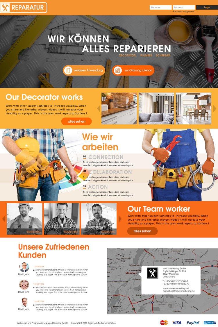 Webdesign für Reparaturservice