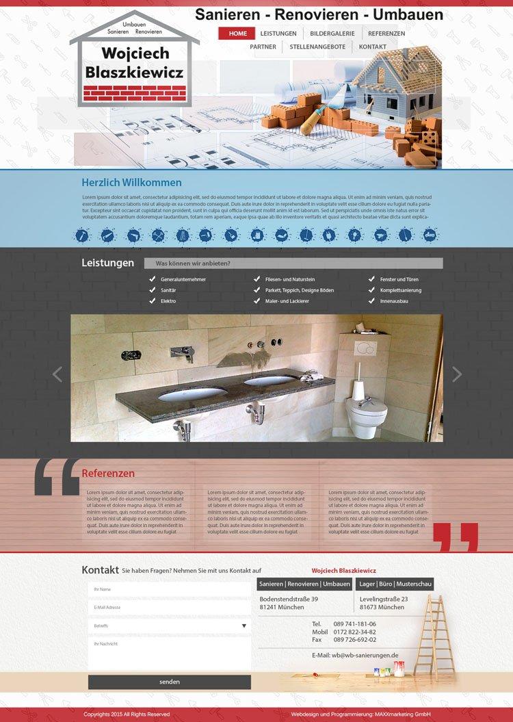 """Webdesign zum Thema """"Sanieren"""""""