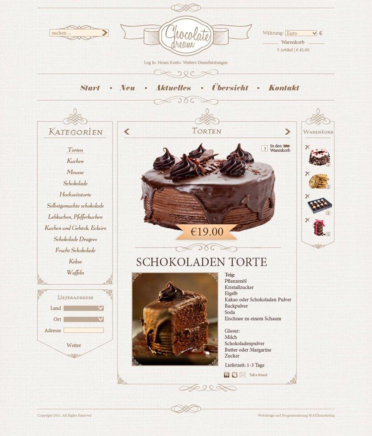 Webdesign der Produktseite