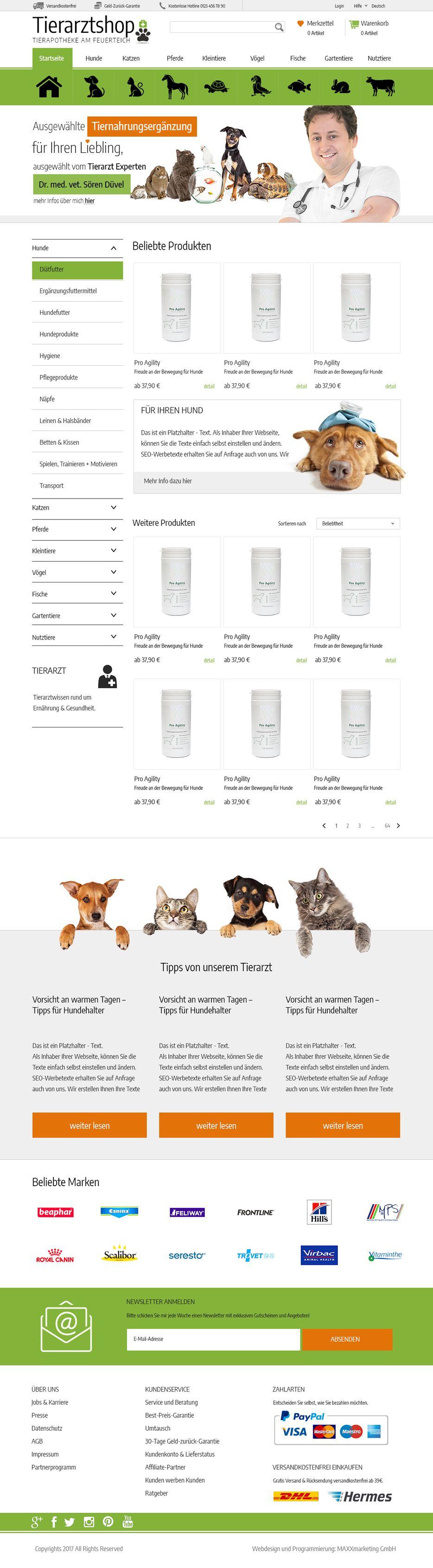 Webdesign für Tierarztshop