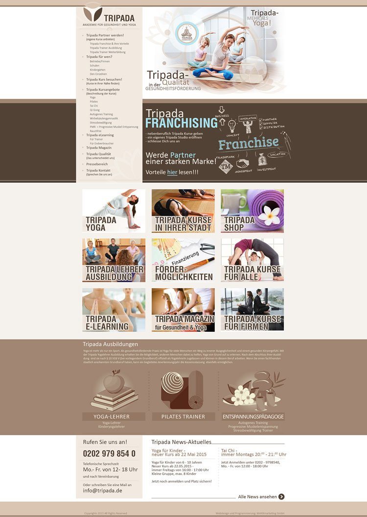 "Webdesign für ""Tripada"""