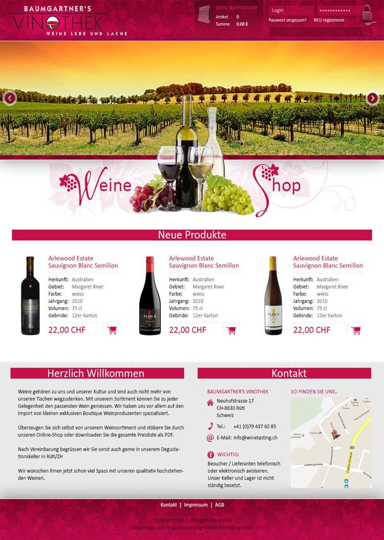 Webdesign für Vinothek