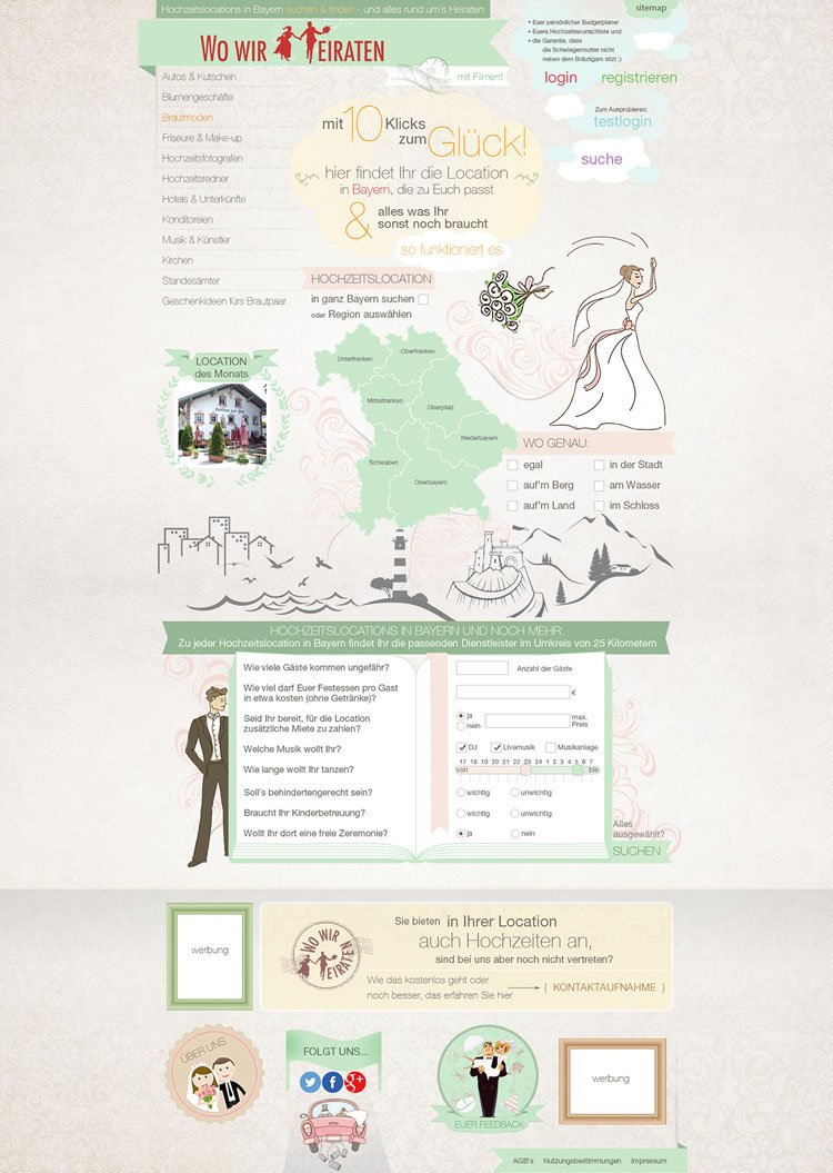 Vorschaubild für Webdesign - Hochzeitslocations