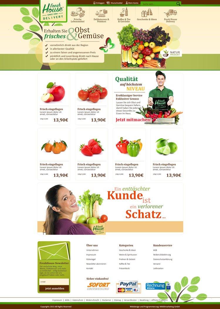 """Webdesign für """"freshhaus"""""""