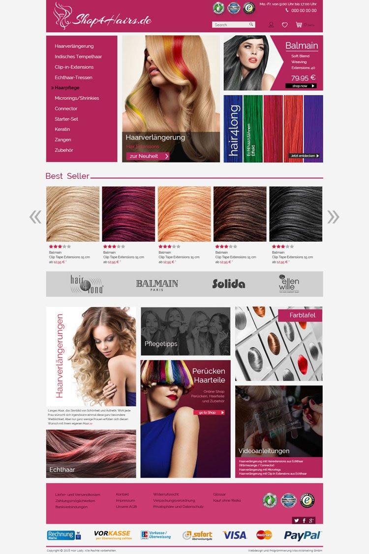 Webdesign für Perücken und Haarverlängerungen Onlineshop