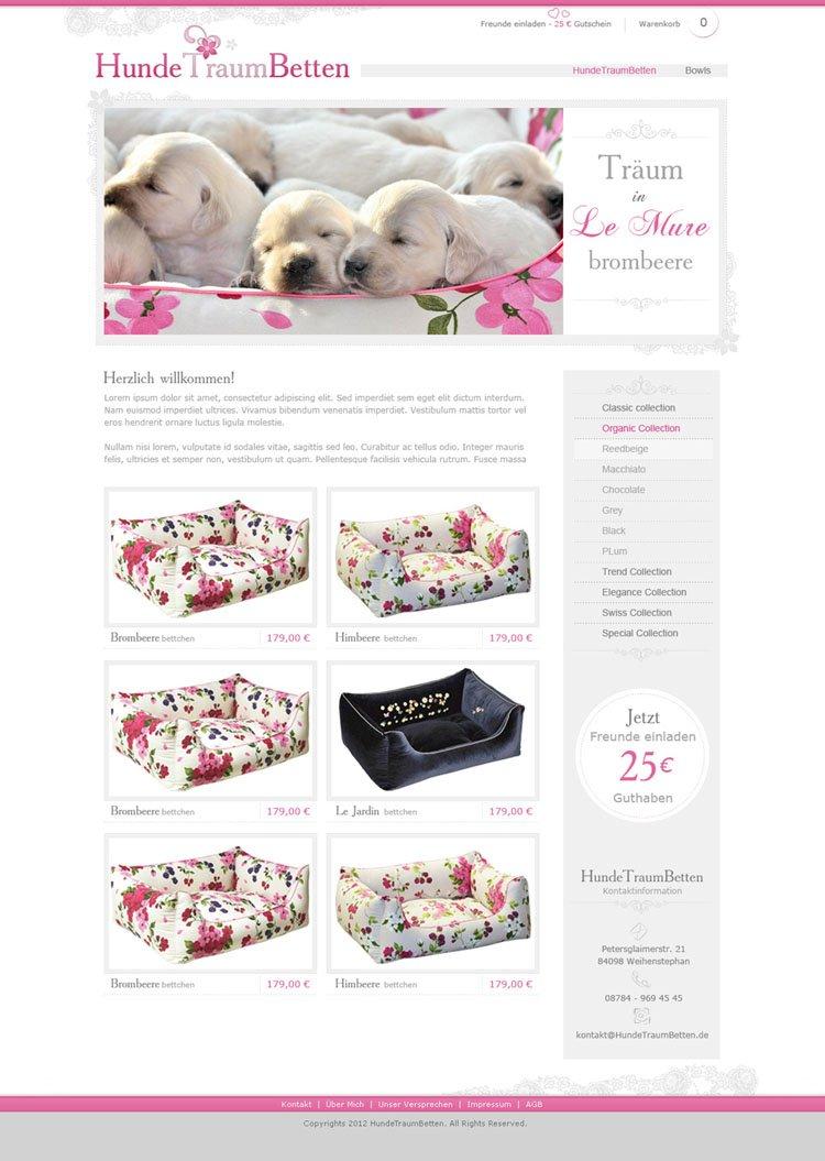 Webdesign für einen Onlineshop - Hundebetten
