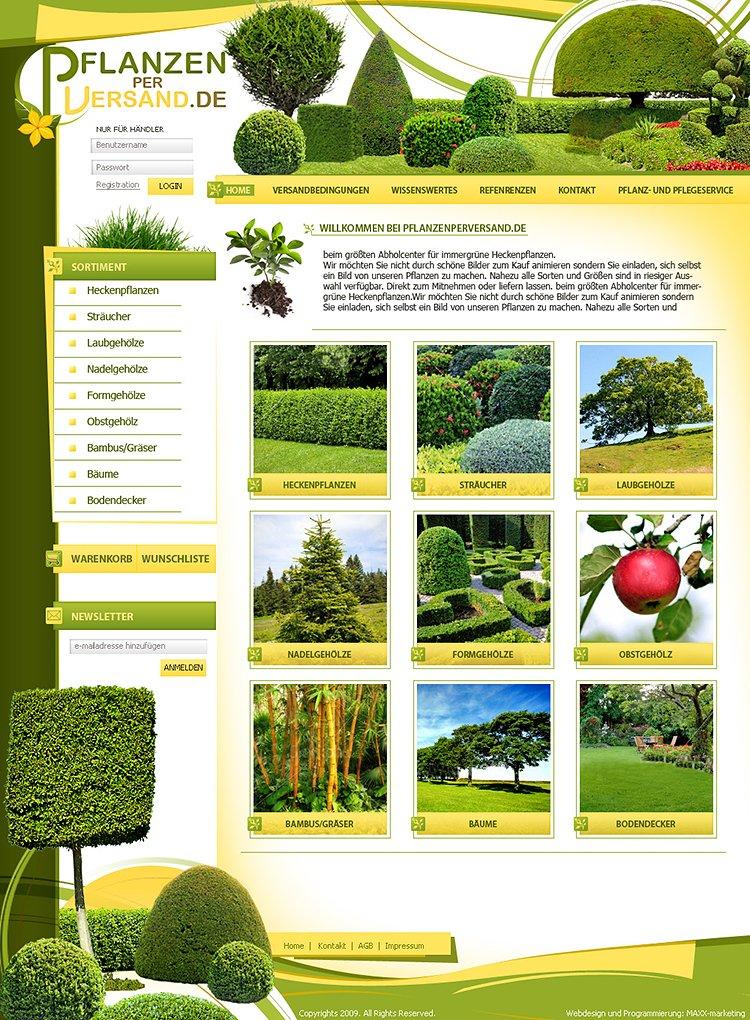 Webdesign für Gartenbau - OnlineShop