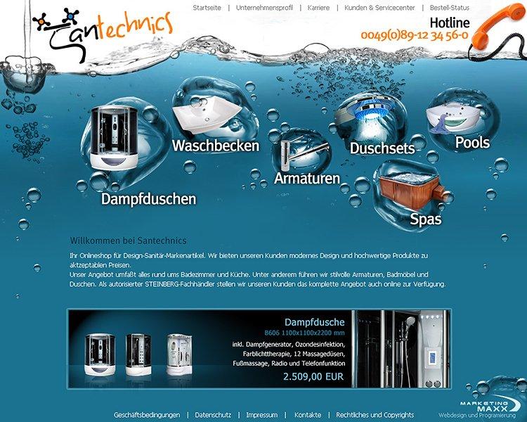 Webdesign zum Thema Sanitär und Installateur