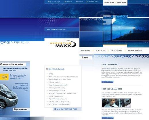 Es  wurden verschiedene Web-Design Beispiele zum Thema Marketing integriert.