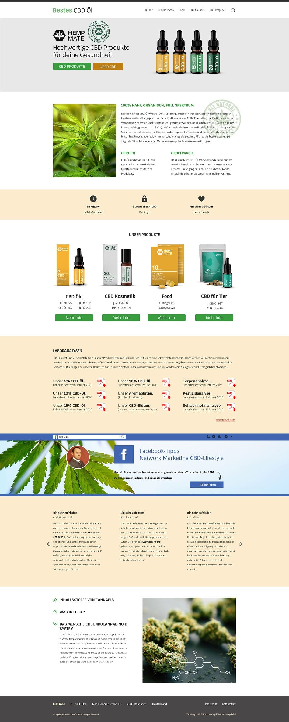 """Webdesign für """"Bestes CBD Öl"""""""
