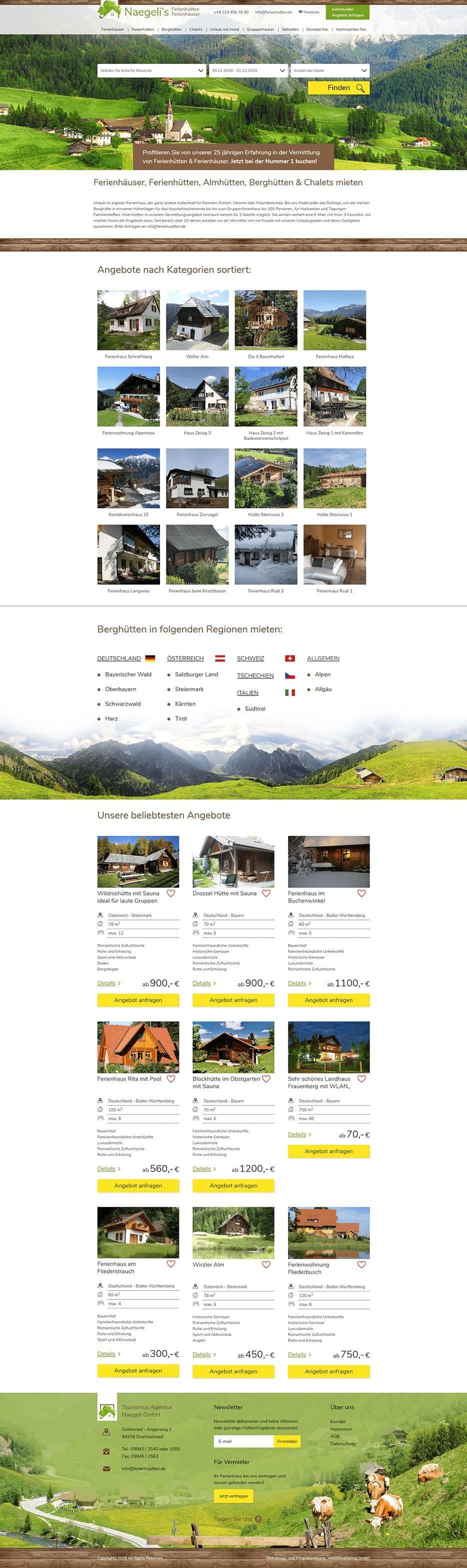Webdesign für Ferienhäuser Ferienwohnungen