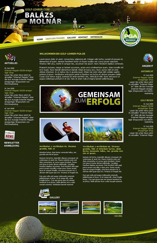 """Webdesign zum Thema """"Golf"""""""