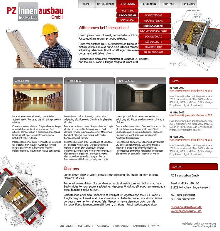 """Webdesign für """"Innenausbau"""""""