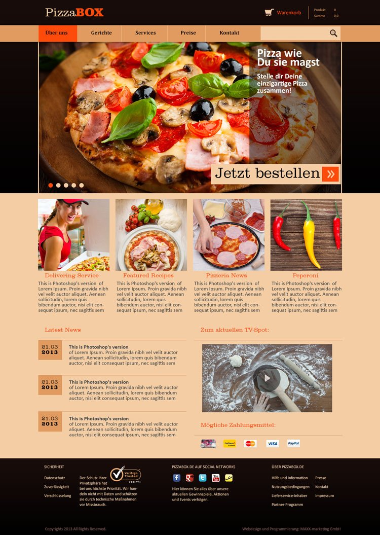 "Webdesign für ""PizzaBOX"""