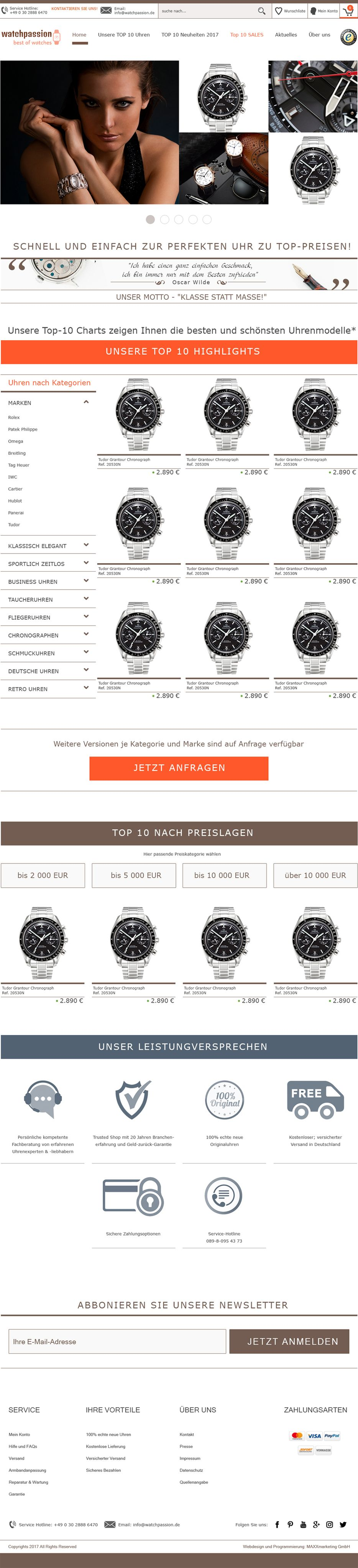 "Webdesign für ""Watchpassion"""