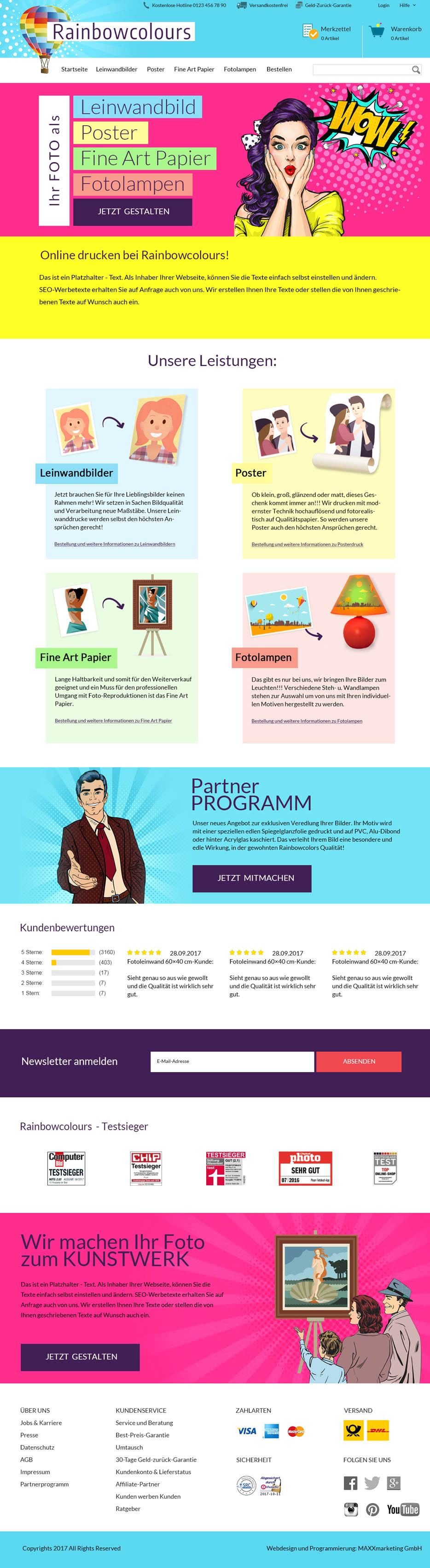 webdesign shop online drucken