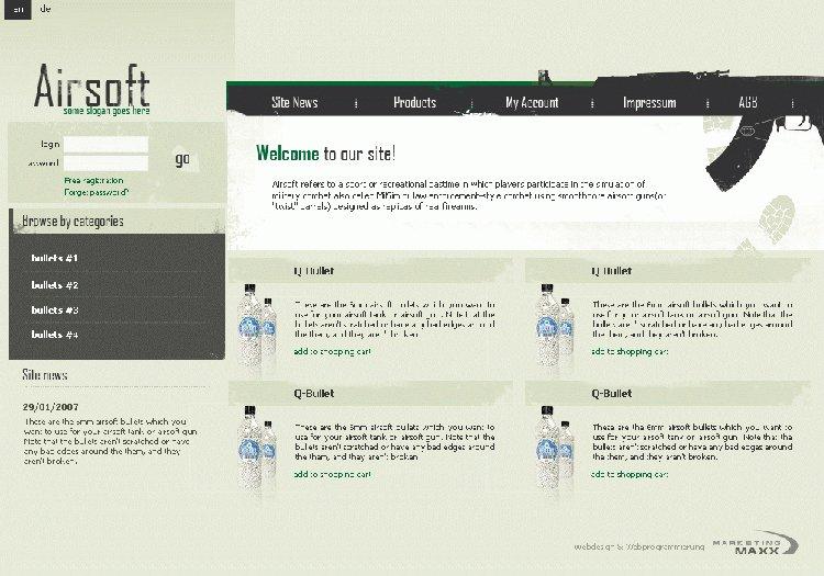 Webseite zum Verkauf von Airsoftmonition
