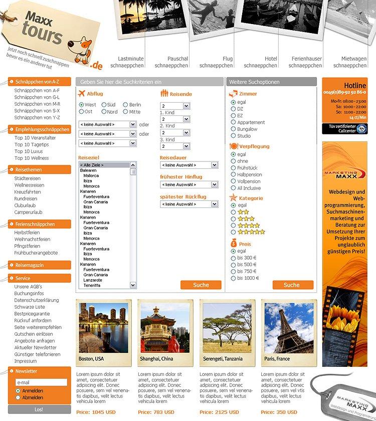 Webdesign für ein Internet Reiseportal