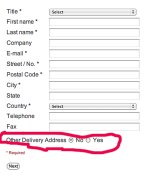"How do I remove ""Other delivery address?"" from the customer form?"