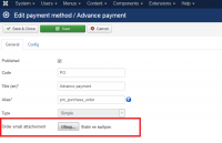 Order email payment attachement