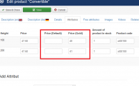 Product price for User Group