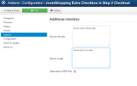 Extra checkbox checkout step 2