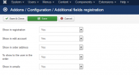 Additional fields registration