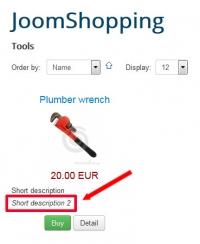 Second short Description for a Product
