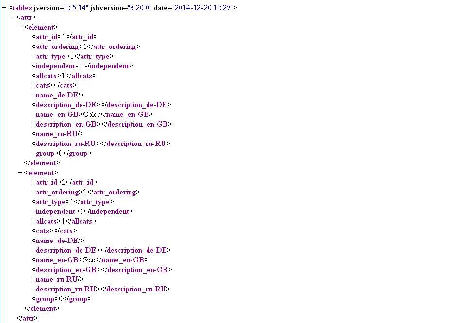 Aw: XML Import/Export (Joomshopping DB)
