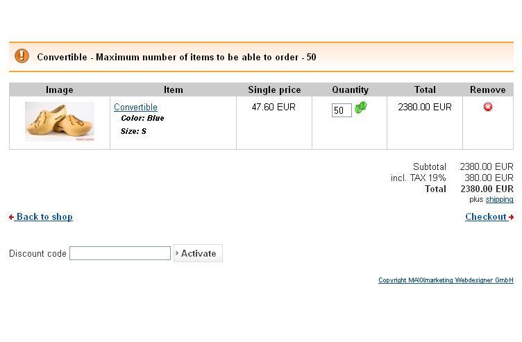 Minimum Gmbh joomshopping minimum maximum number of products in order